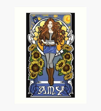 The Girl Who Waited (Amy under a Van Gogh sky) Art Print