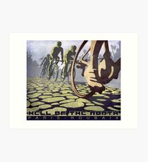 cycling illustration HELL OF THE NORTH retro Paris Roubaix  Art Print