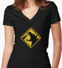 Beware of Japanese Monsters Road Sign Women's Fitted V-Neck T-Shirt