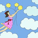 Girl Flying With Balloons by Leni Kae
