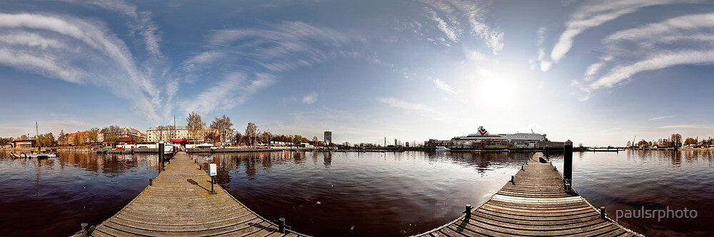 On the other side of port panorama, Riga, Latvia by paulsrphoto