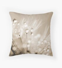 Dandelion Seed with Water Droplets in Sepia Throw Pillow