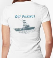Out Fishing Women's Fitted V-Neck T-Shirt