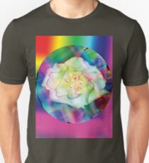 Rainbow rose with some red accents Unisex T-Shirt