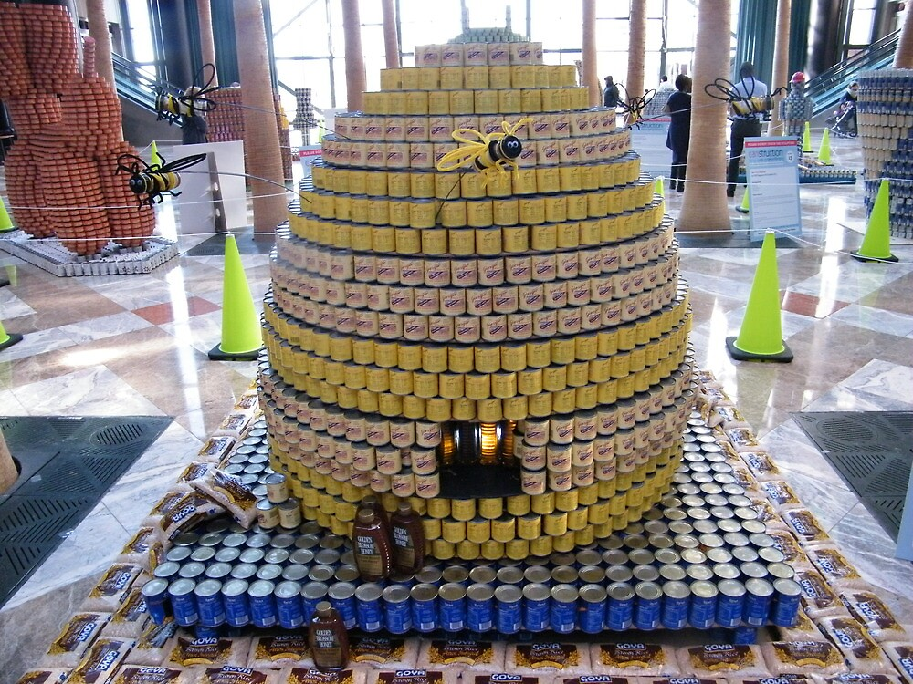 Canstruction, Beehive Made of Cans , Winter Garden, World Financial Center, New York City  by lenspiro