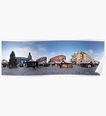 Doma square panorama, Riga, Latvia in Christmas Poster