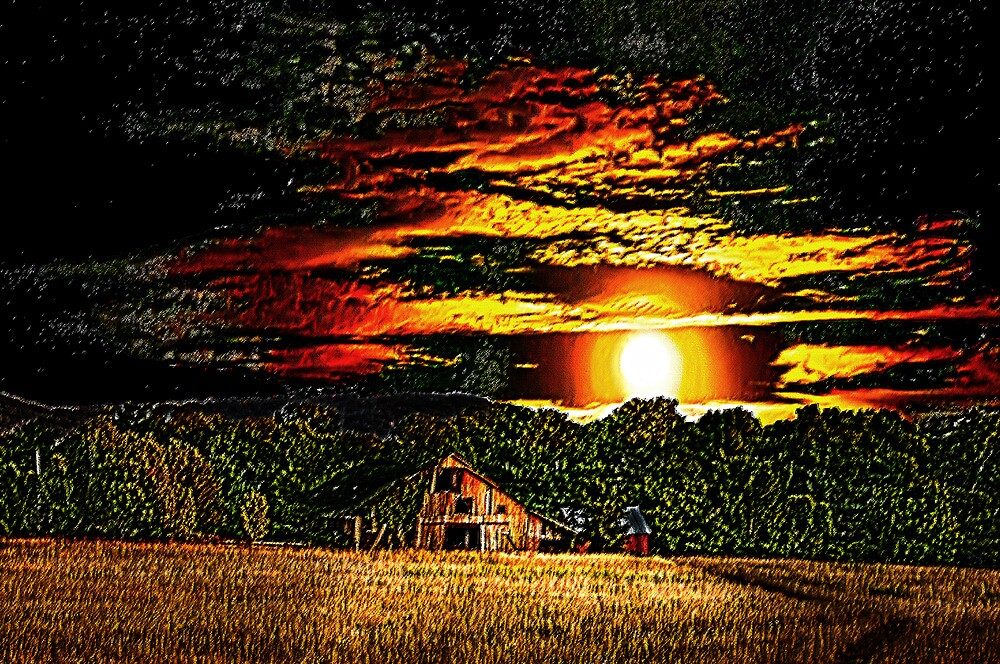 Harvest Moon and Late Barn by Randy Branham