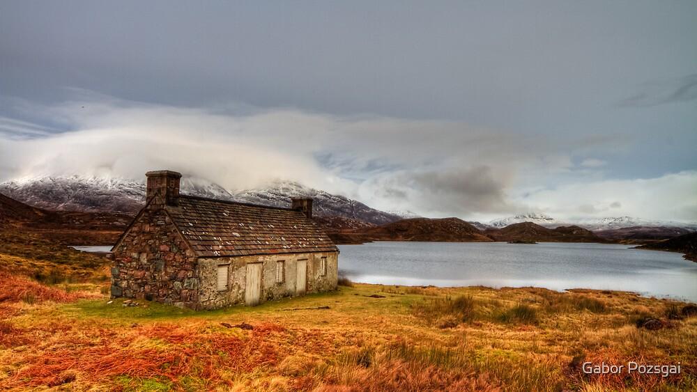 Winter scene at Loch Stack, Scotland by Gabor Pozsgai