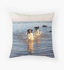 benson and jess at cooden Beach Throw Pillow