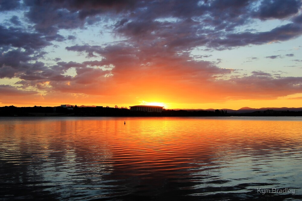 Sunset Over National Library Canberra  by Kym Bradley