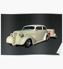 1937 Chevrolet Custom Sedan Hot Rod with a Trailer Poster