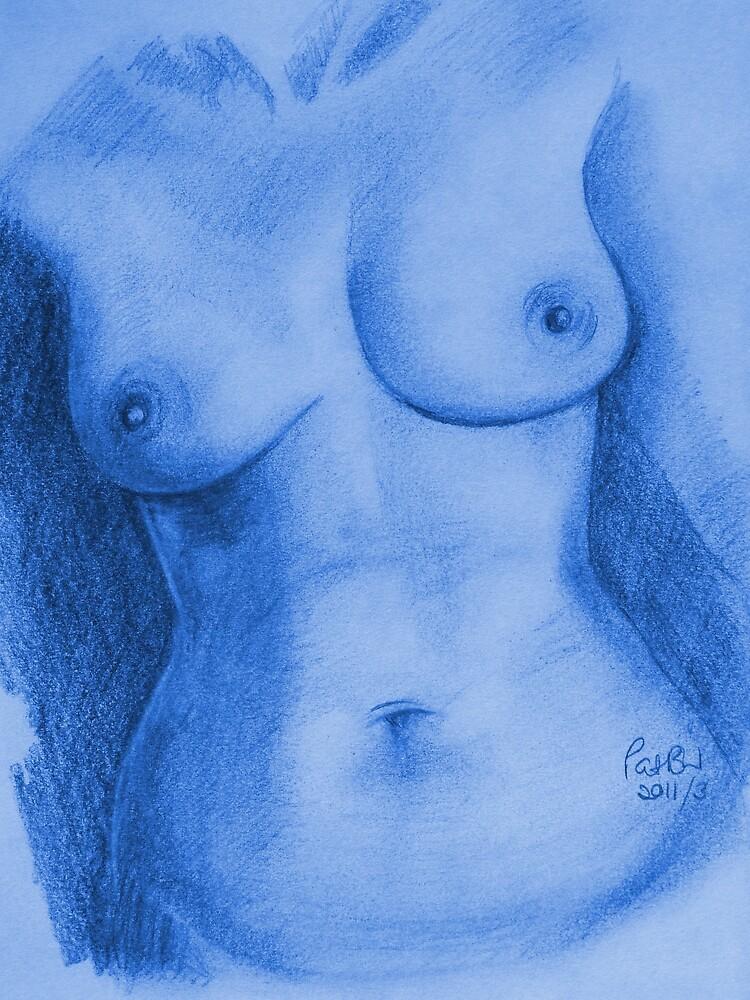 Nude Female Torso - PPSFN-0002-in Blue by Pat - Pat Bullen-Whatling Gallery