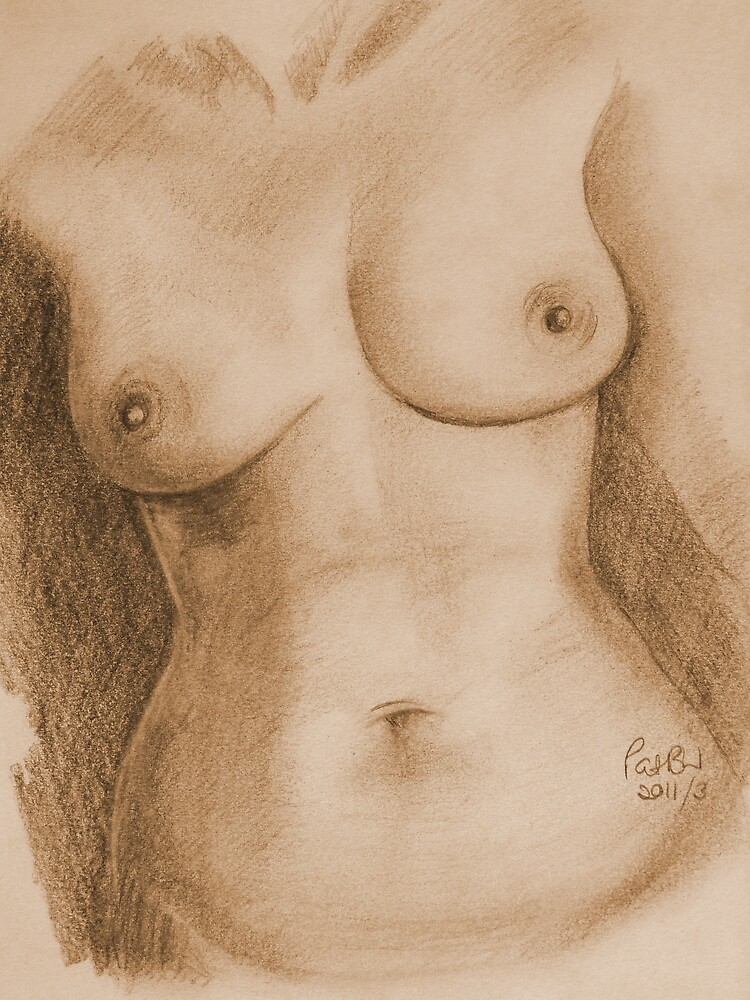 Nude Female Torso - PPSFN-0002-in Sepia by Pat - Pat Bullen-Whatling Gallery