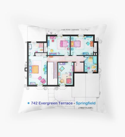 House of Simpson family - First Floor Throw Pillow