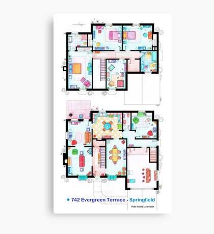 House of Simpson family - Both floors Canvas Print