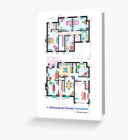 House of Simpson family - Both floors Greeting Card