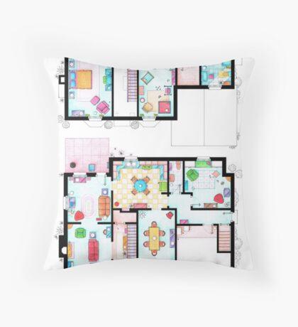 House of Simpson family - Both floors Throw Pillow