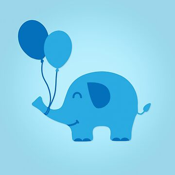 Sweet Funny Baby Elephant with Balloons von badbugs