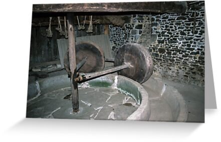 Millstone in Hambaye Abbey 19840219 0046  by Fred Mitchell