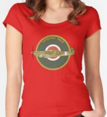 RAF MKII Spitfire Vintage Look Fighter Aircraft Women's Fitted Scoop T-Shirt