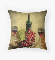 Wine and the Grapes,  Throw Pillow