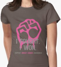 Fought & Beat Breast Cancer Awareness Womens Fitted T-Shirt