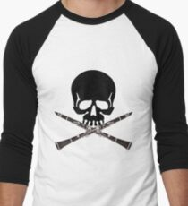 Skull with Clarinet Crossbones Men's Baseball ¾ T-Shirt