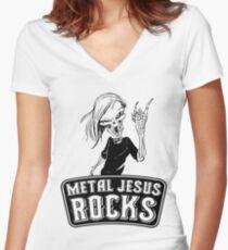 Metal Jesus RISEN Women's Fitted V-Neck T-Shirt