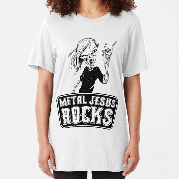 Metal Jesus RISEN Slim Fit T-Shirt