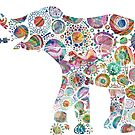 Colorful Abstract Retro Elephant by artonwear