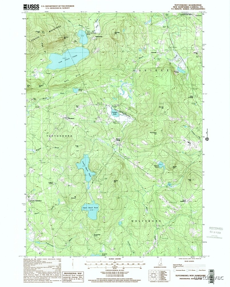 USGS TOPO Map New Hampshire NH Tuftonboro 329830 2000 24000 by wetdryvac