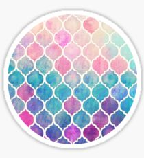 Rainbow Pastel Watercolor Moroccan Pattern Sticker