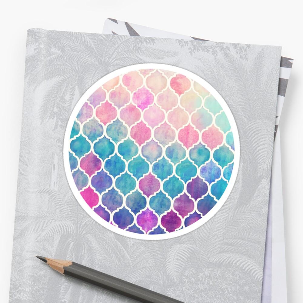 Rainbow Pastel Watercolor Moroccan Pattern Sticker