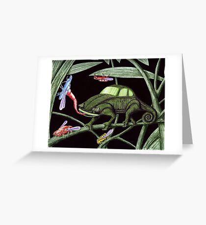 Bug the Bug killer surreal pen ink and colored pencils drawing Greeting Card