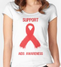 Support Aids Awareness Red Ribbon Women's Fitted Scoop T-Shirt