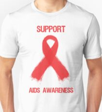Support Aids Awareness Red Ribbon Unisex T-Shirt
