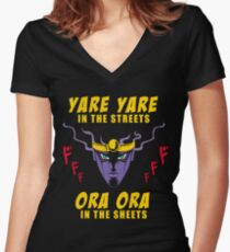 Yare Yare in the streets Women's Fitted V-Neck T-Shirt