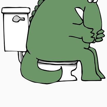 Funny Dinosaur on Toilet by FunnyT-Shirts