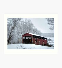 Snow Covered Covered Bridge Art Print
