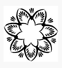 Simplistic and floral (Black and white~) Photographic Print