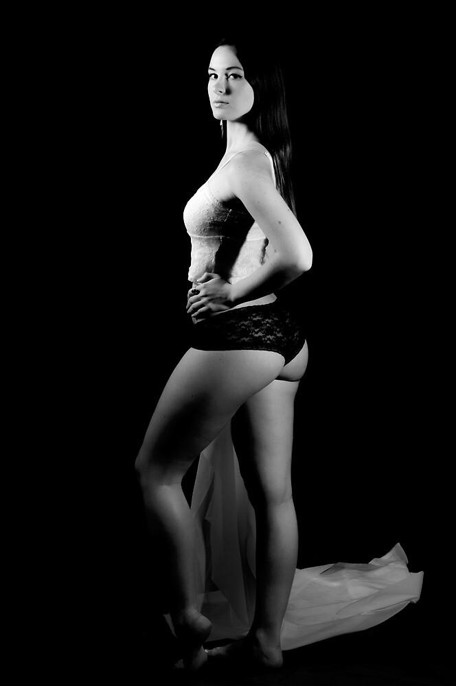 Girl lingerie sensual portrait - A light in the dark by tree3art