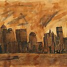New York Sky Line Created With Tea by NikunjVasoya