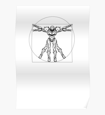 Vitruvian Metroid [Black on White] Poster