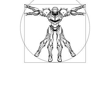 Vitruvian Metroid [Black on White] by TitanVex