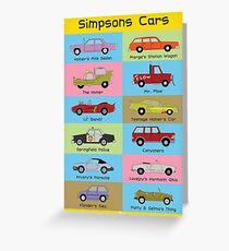 Simpsons Cars Greeting Card