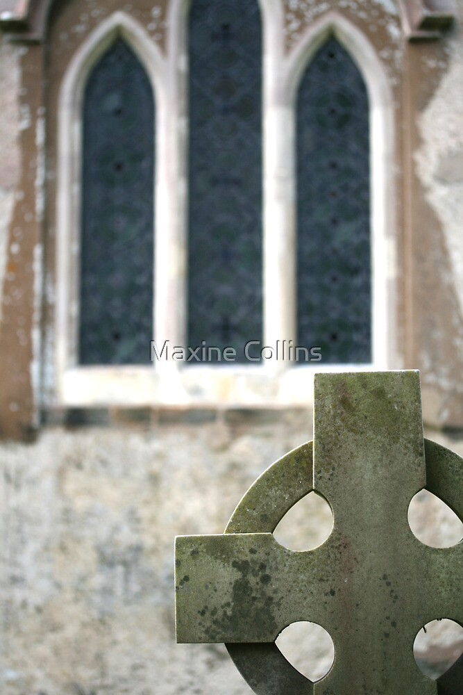 Celtic headstone and church window, Clayton Churchyard, Sussex by Maxine Collins