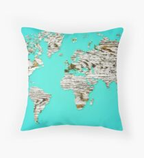 Turquoise Map of The World - World Map for your walls Throw Pillow
