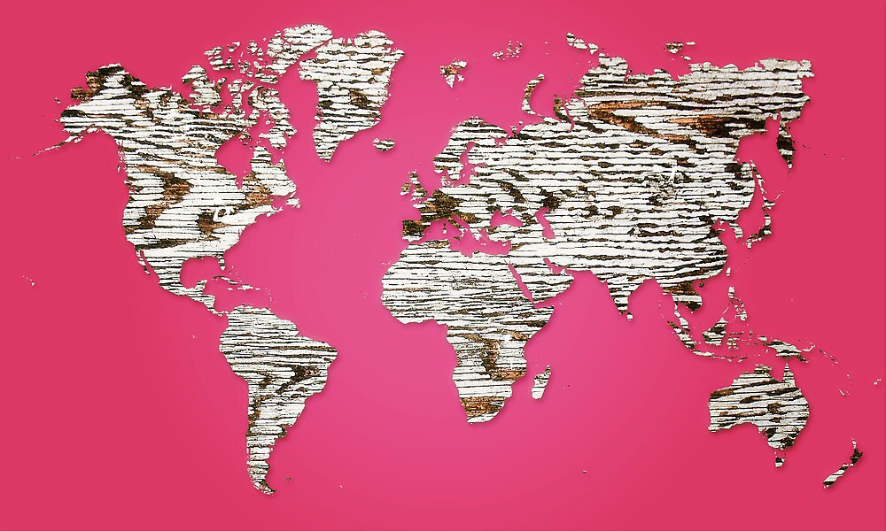 Pink Map of The World - World Map for your walls by DejaVuStudio
