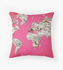 Pink Map of The World - World Map for your walls Throw Pillow
