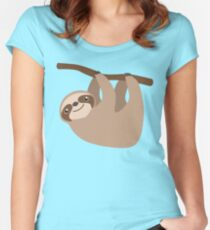 Cute Sloth on a Branch Women's Fitted Scoop T-Shirt